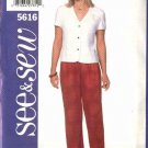 Butterick Sewing Pattern 5616 Misses Size 6-8-10 Easy Button Front Short Sleeve Top Long  Pants