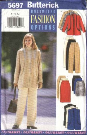 Butterick Sewing Pattern 5697 Misses Size 8-10-12 Easy Jacket Vest Straight Skirt Pants