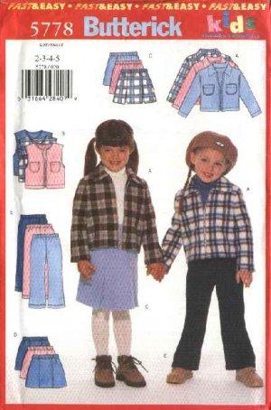 Butterick Sewing Pattern 5778 Girls Size 2-3-4-5 Easy Wardrobe Zipper Front Jacket Vest Skirt Pants