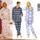 Butterick Sewing Pattern 5848 Mens Misses Size XS-M Easy Wrap Front Robe Pajamas Top Pants