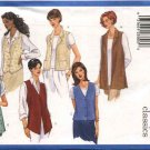 Butterick Sewing Pattern 5888 Misses Size 8-10-12 Easy Classic Button Front Long Short Vests