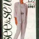 Butterick Sewing Pattern 5981 Misses Size 6-22 Easy Unlined Jacket Cap Sleeve Top Long Pants