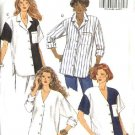 Butterick Sewing Pattern 6225 Misses Size 8-10-12 Easy Button Front Big Shirts Color Blocked