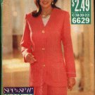 Butterick Sewing Pattern 6629 Misses Size 18-22 Easy Button Front Jacket Pullover Top Pleated Skirt