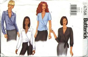 Butterick Sewing Pattern 6768 Misses Size 6-8-10 Easy Wrap Front Tops Collar Sleeve Variations