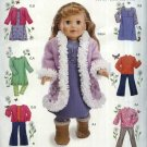 "Simplicity Sewing Pattern 0576 4786 Size 18"" Doll Clothes Dress Pants Tops Jacket Coat Jumper Boots"