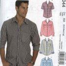 "McCall's Sewing Pattern 6044 Mens Chest Size 46-56"" Button Front Short Long Sleeve Western Shirts"