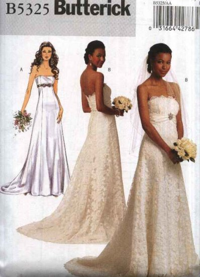 Butterick sewing pattern 5325 misses size 14 22 strapless Butterick wedding dress patterns