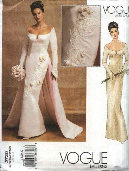 Vogue Sewing Pattern 2720 Misses Size 18-20-22 Bridal Original Wedding Dress Gown Detached Train