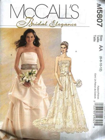 McCall�s Sewing Pattern 5807 M5807 Misses Size 14-20 Strapless Two Piece Wedding Bridal Gown Dress