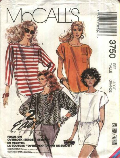 McCall�s Sewing Pattern 3750 Misses Size 18-20 Easy Pullover Knit Long Cropped Tops