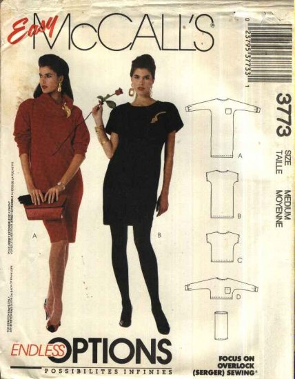 McCall�s Sewing Pattern 3773 Misses Size 14-16 Easy Knit Long Short Sleeve Dress Top Cowl Neck