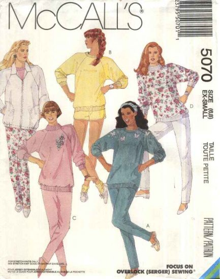 McCalls Sewing Pattern 5070 Misses Size 6-8 Knit Wardrobe Zipper Front Jacket Top Pants Shorts