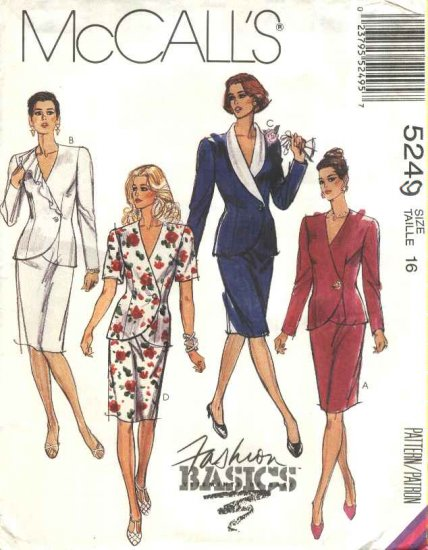 McCalls Sewing Pattern 5249 Misses Size 16 Basic Two Piece Dress Jacket Straight Skirt