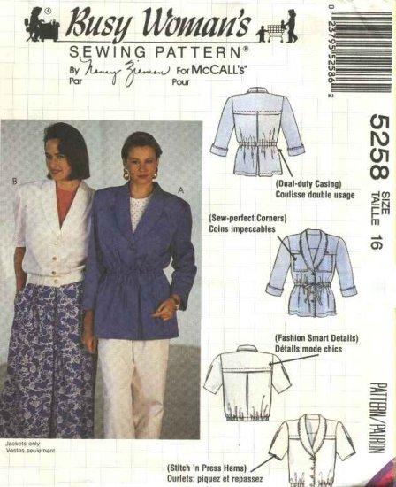 McCalls Sewing Pattern 5258 Misses Size 16 Nancy Zieman Unlined Short Long Sleeve Jacket