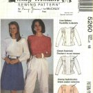 McCalls Sewing Pattern 5260 Misses Size 18 Nancy Zieman Back Button Blouse Short Long Sleeves