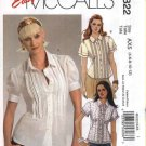 McCalls Sewing Pattern 5322 Misses Size 4-12 Easy Button Front Blouses Lace Tucks Trim