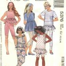 McCalls Sewing Pattern 5376 Girls Size 10-12-14 Easy Knit Baby Doll Tops Leggings Headband