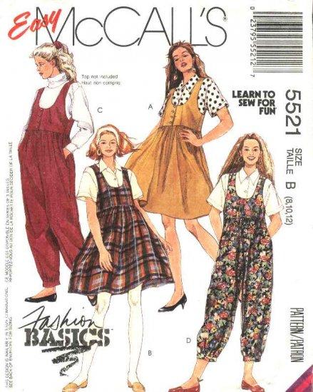 McCalls Sewing Pattern 5521 M5521 Misses Size 8-12 Easy Basic Jumper Jumpsuit