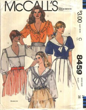 McCall�s Sewing Pattern 8459 Misses Size 14 Button Front Blouse Collar Sleeve Variations