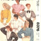 McCall's Sewing Pattern 8376 Misses Size 14 Button Front Dolman Sleeve Blouse Tops