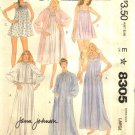 McCall's Sewing Pattern 8305 Misses Size 18-20 Smocked Nightgown Robe Bedjacket Panties Nightie