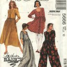 McCall's Sewing Pattern 5666 Misses Size 10 Easy Basic Pullover Raised Waist Dress Jumpsuit