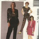 McCall's Sewing Pattern 5669 Misses Size 12 Unlined Cropped Jacket Top Skirt Harem Pants