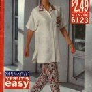 Butterick Sewing Pattern 6123 Misses Size 6-14 Easy Button front Big shirt Top Long Pants