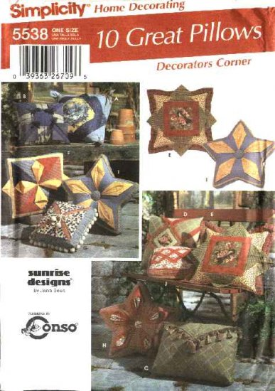 Simplicity Sewing Pattern 5538 Ten Decorative Pillows Cushions Square Star Quilted Patchwork