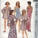 McCall's Sewing Pattern 7851 Misses Size 6-8 Easy Camisole Nightgown Front Wrap Robe Shorts
