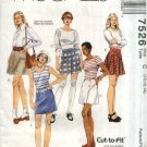 McCall's Sewing Pattern 7526 Misses Size 10-12-14 Easy A-Line Flared Wrap Button Front Mini Skirts