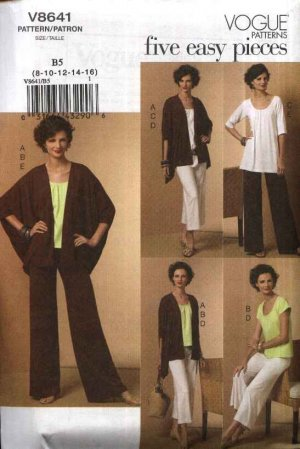 Vogue Sewing Pattern 8641 Misses Size 18-24 Easy Knit Wardrobe Jacket Pullover Tops Pants