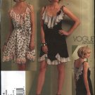 Vogue Sewing Pattern 1104 Misses Size 6-12 Anna Sui Sleeveless Summer Dress Ruffles Flounces