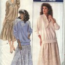 Retro Butterick Sewing Pattern 5838 Misses Size 8-10-12 Easy Pullover Raglan Sleeve Top Dirndl Skirt