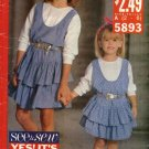 Butterick Sewing Pattern 5893 B5893 693 Girls Size 2-6 Easy Ruffled Skirt Jumper Pullover Top