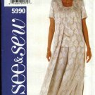 Butterick Sewing Pattern 5990 Misses Size 20-22-24 Easy Duster Long Vest Short Sleeve Top Pants