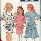 Retro Butterick Sewing Pattern 6742 Girls Size 7-8-10 Easy Knit Dropped Waist long Sleeve Dresses