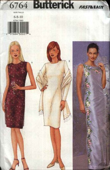 Butterick Sewing Pattern 6764 Misses Size 18-20-22 Easy Short Long Formal Dress Machine Embroidery