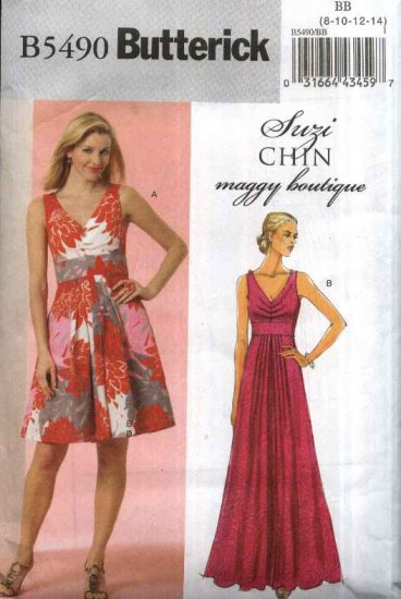 Butterick Sewing Pattern 5490 Misses Size 16-22 Easy Suzi Chin Flared Skirt Long Short Formal Dress