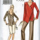 Vogue Sewing Pattern 8403 Misses Size 8-10-12-14 Easy Asymmetrical Tunic Top Shorts Pants