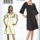 Vogue Sewing Pattern 8442 Misses Size 6-12 Easy Lined A-Line Square Neck Dress Sleeve Variations
