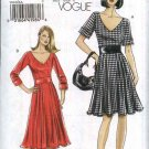 Vogue Sewing Pattern 8443 Misses Size 6-8-10-12 Easy Lined Bodice Flared Skirt Midriff Dress