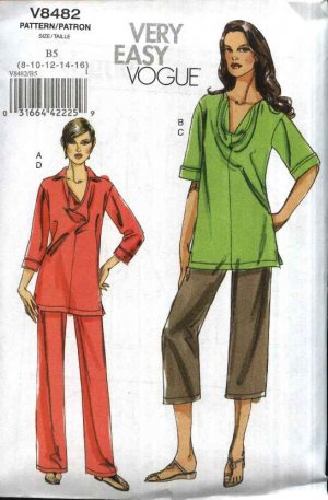 Vogue Sewing Pattern 8482 Misses Size 18-24 Easy Pullover Cowl Neck Top Pull-On long Cropped Pants