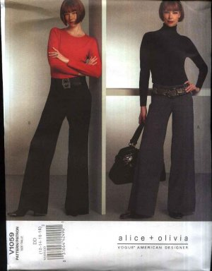 Vogue Sewing Pattern 1059 Misses Size 4-10 Easy Alice & Olivia Long Flared Pants Waist Yokes