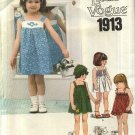 Vogue Sewing Pattern 1913 Girls Size 6 Sundress Jumper Pullover FOUR Dress Panties Bloomers Hat