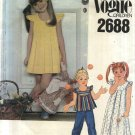 Vogue Sewing Pattern 2688 Girls Size 6X Summer Pleated Flared Top Short Long Dress
