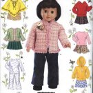 "Simplicity Sewing Pattern 4297 Doll Clothes 18"" Wardrobe Jacket Poncho Hoodie Pants Skirt Top"