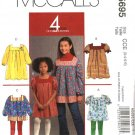 McCall's Sewing Pattern 5695 Girls Size 3-4-5-6 Easy Dress Tunic Tops Sleeve Options