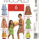 McCall's Sewing Pattern 5419 girls Size 3-4-5-6 Easy Summer Sundress Sunsuit Dress Top Shorts